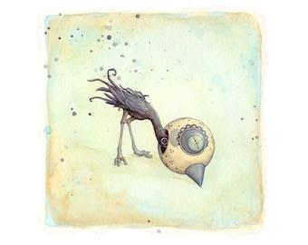 Playing Dead - Halloween art print of an unfortunate bird (from an original painting by Leontine Greenberg)
