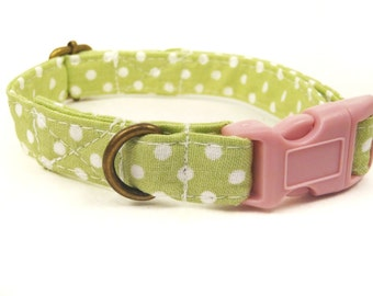 Pistachio - Organic Cotton CAT Collar Breakaway Safety Green White Polka Dot - All Antique Brass Hardware