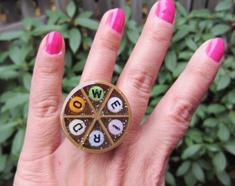 WEIRDO bling- upcycled Trivial Pursuit adjustable ring