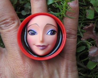 Eyebrow NOT Highbrow - Upcycled bottlecap doll face RING