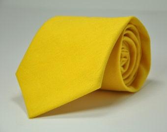Boy's Necktie Bright Mustard Yellow Linen Kid's Tie