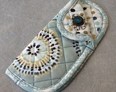 Quilted Fabric Eyeglass Sunglass Soft Case in 100 Per Cent Cotton Coordinating Fabrics