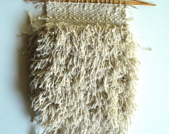"White Handwoven Beachy Kitsch Wall Tapestry ""Dune Moppet"""