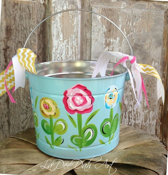Easter Bucket Personalized Bucket Hand Painted Tin Pail