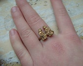 FREE SHIPPING Vintage Brass People Ring  - Size 5