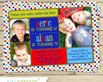 Boy Joint Birthday Party Invitation, Twin Boy Printable Birthday Invitation, Boys Dual Birthday Invitation, Boy Combined Invitation
