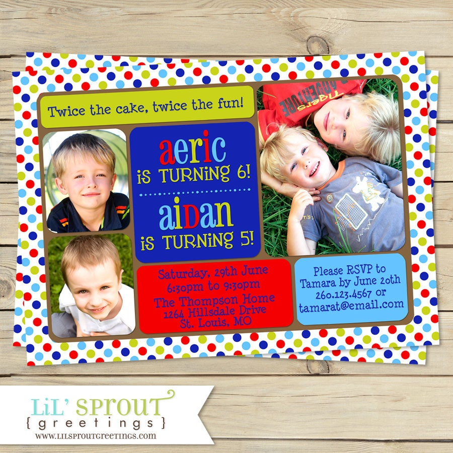 Boy Joint Birthday Party Invitation Twin Boy Printable – Dual Birthday Party Invitations