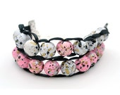 Pink and White Speckled with Silver Clasp - Ablet Knitting Abacus - Row Counting Bracelet