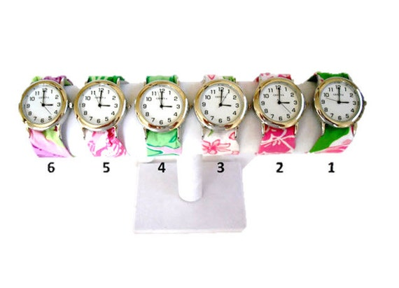 Silver Wristlet Watch Made from Your Choice of Lilly Pulitzer Fabric..Group 4