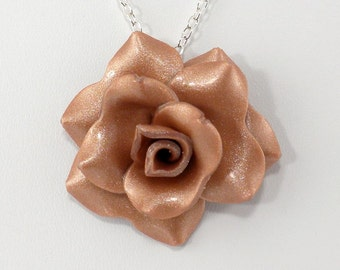 Light Copper Rose Pendant Necklace - Simple Rose Necklace - Handmade Wedding Jewelry - Polymer Clay Rose Pendant - #310 Ready to Ship