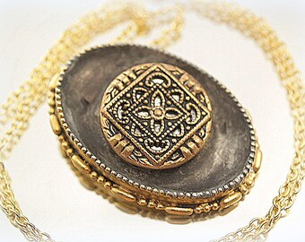Antique Button Soldered Necklace Assemblage Necklace Two Tone Mixed Media Pendant