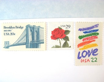 Unused Wedding Postage Stamps, Love Stamps, Brooklyn Bridge, Rainbow, Red Rose, NYC, Mail 20 Wedding Invitations 2 oz, 71 cents postage