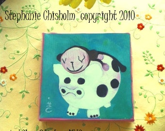 Piggy Back. Brown Sock Monkey Beige Face on top of a Cow Print Piggy Bank. 6 by 6 Inch Handmade Painting on Canvas.Ilustration. kids.art