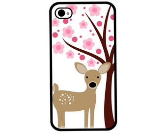 Phone Case - Deer with Pink Flowering Trees - Hard Case for iPhone 4, 4s, 5, 5s, 5c, SE, 6, 6 Plus, 7, 7 Plus - iPod Touch 4, 5/6 - Galaxy