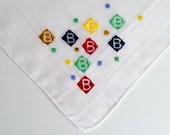 Vintage Monogram B Handkerchief - Unusual Block Design in Primary Colors