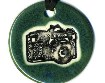Camera Ceramic Necklace in Dark Green