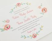 Blush Wedding Invitation - Charming, Soft Floral Theme - Watercolor Style Wedding Invitation