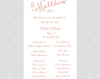 Coral Wedding Programs