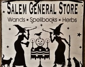 Witch Cat Wood Sign Board Salem Broom Co. General Store Halloween Primitive Wicca Goth Gothic White Black