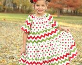 Christmas Chevron Twirl Dress Red Green White Party Holiday