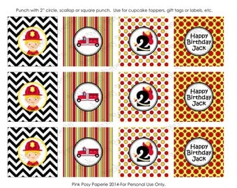 Printable Firefighter Birthday Cupcake Toppers