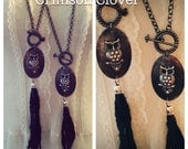 Oval Owl Black Silk Tassel Necklace