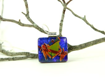 Cobalt Frog Dichroic Pendant- Dichroic Glass Necklace- Frog Jewelry-  Fused Glass Jewelry