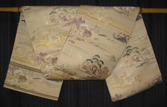 vintage japanese silk maru obi belt for kimonos display. Black Bedroom Furniture Sets. Home Design Ideas