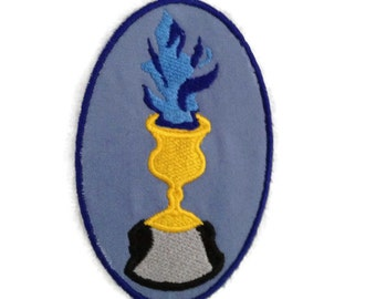Flaming Goblet with Fire HP Patch interpreted Goblet with blue flame Wizardry and Magic in the Gold Cup - Ready to Ship