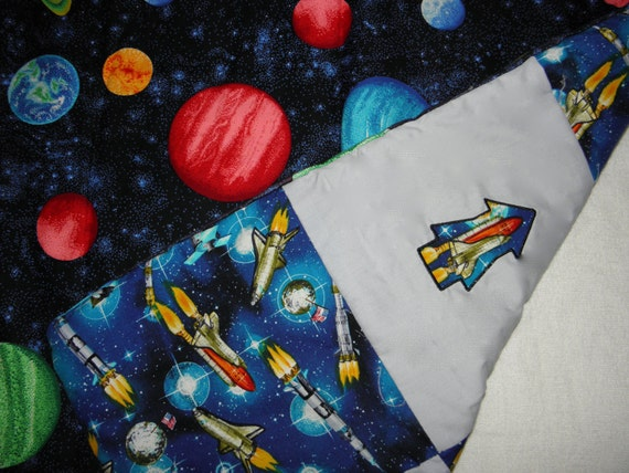 Outer space quilt baby blanket lap quilt by julssewcrazy for Space shuttle quilt