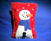 Felt Folk Art Snowman Pillow Tuck Bowl Filler Hand Embroidered with Buttons
