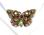 Vintage Rhinestone and Faux Pearl Butterfly Pin
