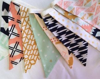 Arizona Fabric Bunting Flag Banner, Garland Bunting.  Mint, Apricot, Designer Fabrics, Weddings, Birthdays, Shower Decor