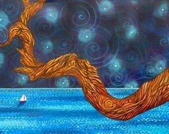 Seascape Sailboat night sky azure sea tree Ocean Print Shelagh Duffett