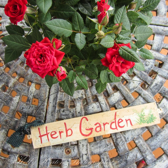 herb garden sign hand painted primitive rustic garden sign white