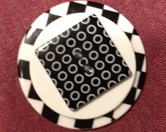 Stacked Button Ring with black and white buttons, and white buttons, round buttons square button