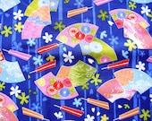 Beautiful Japanese Fabric Hand Fans Flowers BLUE (F16) Cherry Blossoms Chrysanthemums Half Yard 110 x 50 cm