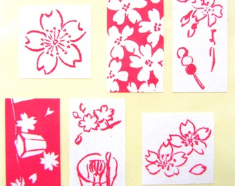 Cherry Blossom Stickers - Japanese stickers - Flower Stickers - Red And White Traditional Sakura S185