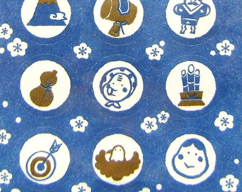 Japanese Stickers Traditional Symbols (S203) Chiygami Paper Blue White