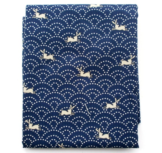 Japanese Fabric  Cute Beige Rabbits And Waves Blue  100 x 110 cm  1 Yard F34