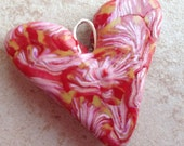 Hearts for Jenny Handmade Polymer Clay Heart Pendant - Red Feathers