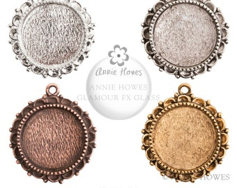Ornate Circle Pendant Tray with Glamour FX Glass Cabochon. Choose your color. 20mm. OLPCS-SB