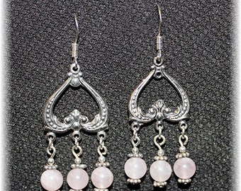 Romance of Roses Chandelier Earrings Sterling Silver and Rose Quartz  814Chand09