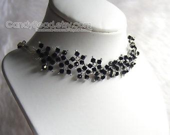 Swarovski Necklace, Black Multiflora Swarovski Crystal Silver Necklace
