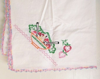 Embroidered Cotton Tablecloth Luncheon 'Card Table' 34 Inch Square