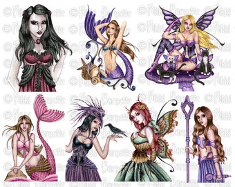 Fantasy Digital Collage Sheet - Cut Out No. 2 - Printable Mermaid and Fairy Images for Crafting by Nikki Burnette - COMMERCIAL USE