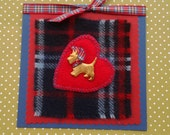 Scottish Luxury brass-plated Scottie Dog On a Tartan Rug Greetings Card