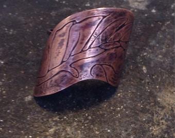 Boho Leaf motif copper ring