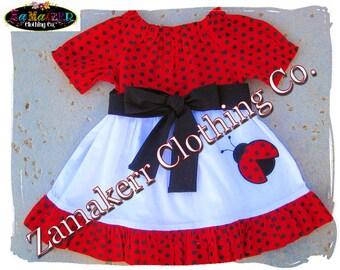 Girl Birthday Lady Bug Dress - Toddler Baby Girl Ladybug Ruffle Dress with Sash Size 3 6 9 12 18, 24 month, 2, 2t, 3t, 3, 4, 4t, 5, 6, 7 8