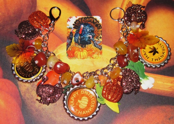 Thanksgiving Charm Bracelet Autumn Colors Fall Jewelry Leaves
